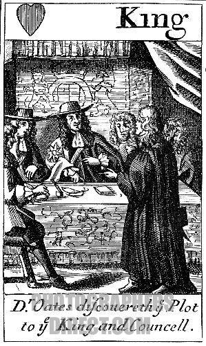 Titus Oates tells Charles II of the Popish Plot