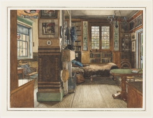 Drawing, Sir Lawrence Alma-Tademas Library in Townshend House, London, 1884