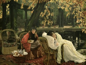 SAG65029 A Convalescent, c.1876 (oil on canvas) by Tissot, James Jacques Joseph (1836-1902); 76.7x99.2 cm; Sheffield Galleries and Museums Trust, UK; (add.info.: Tissot's garden in St John's Wood;); Photo © Museums Sheffield; French, out of copyright